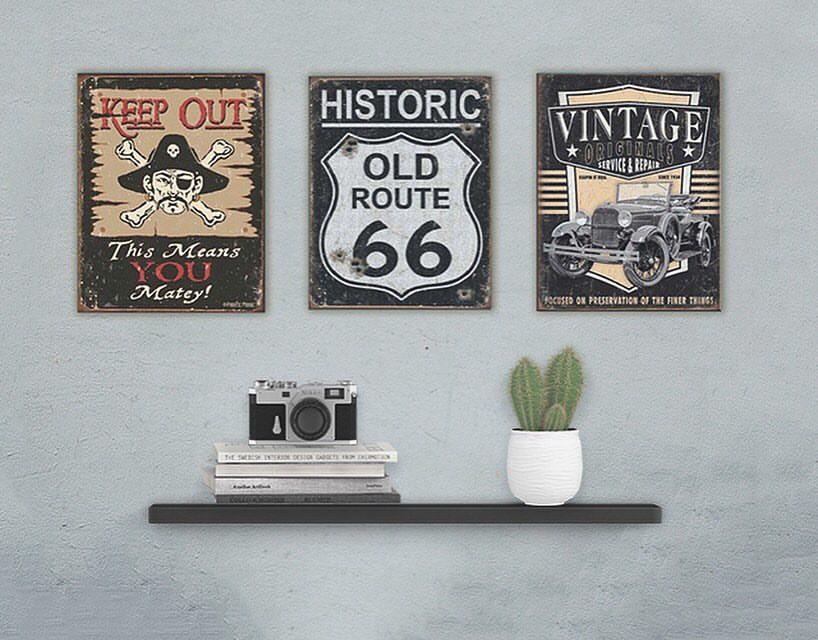 Blechschilder, Retro, Route 66 Blechschild Vintage