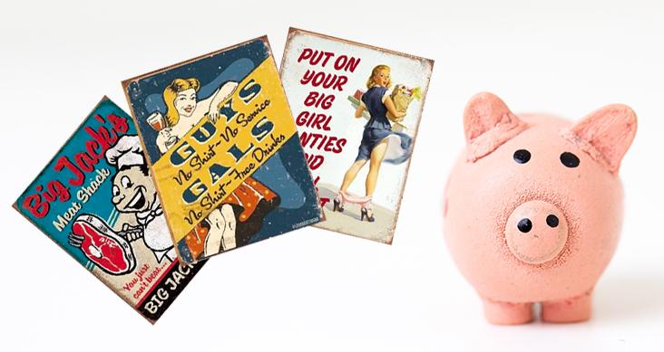 Pin Up Girls Blechschilder Schweinchen