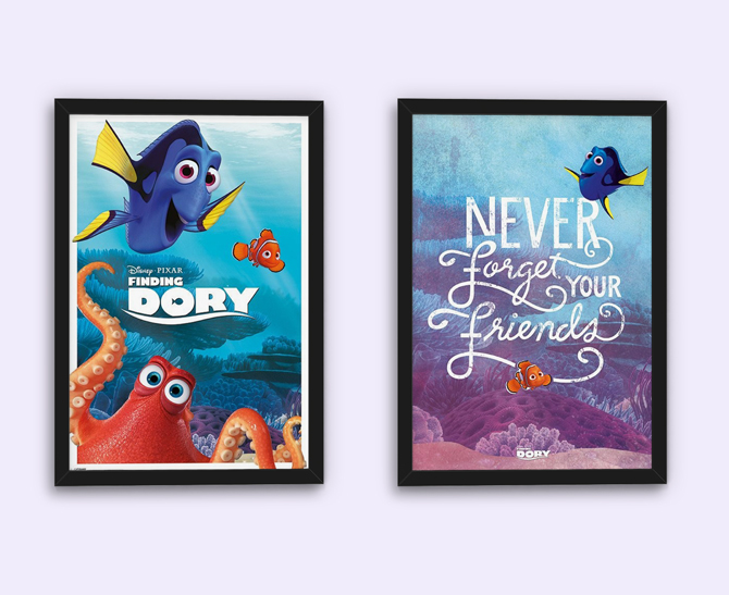 Finding Dory - Characters and Never Forget Your Friends Posters; 5,99 € each