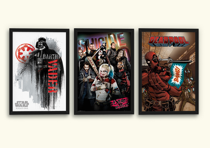 Rogue One, Suicide Squad ja Deadpool julisteet; 5,99€/kpl
