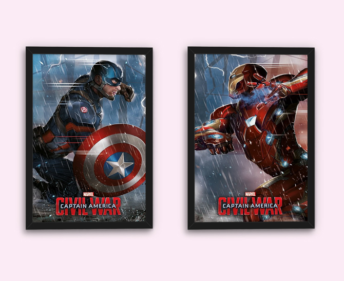 Captain America: Civil War – Captain America ja Iron Man julisteet; 5,99€/kpl