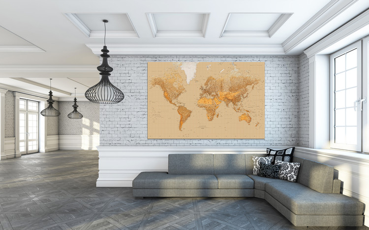Carte du monde couleur sable