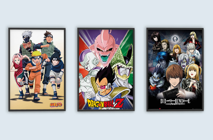 Naruto – Run, Dragon Ball Z – Villains and Death Note – Collage Posters; każdy plakat za 17,90 zł