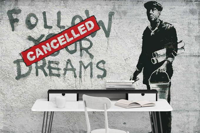 Fototapeta Banksy Betonowa ściana; różne rozmiany i ceny