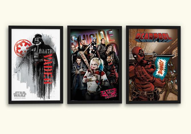 Plagát k filmom Rogue One, Samovražedný oddiel a Deadpool, cena za 1 ks: 5,99 €