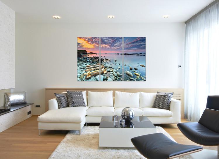 Artă montată Răsărit pe coastă, 90 × 60 cm (3x 60×30 cm)